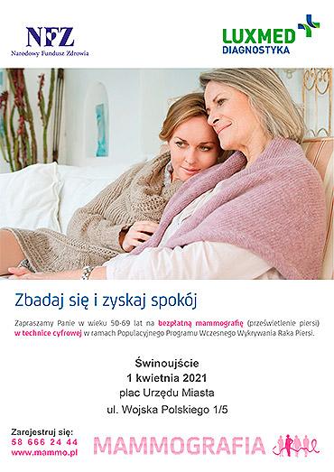 Bezpłatna mammografia w mobilnej pracowni mammograficznej LUX MED w kwietniu 2021 - Świnoujście