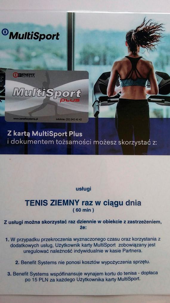 Zapraszamy na korty zewnętrzne z kartą Multisport